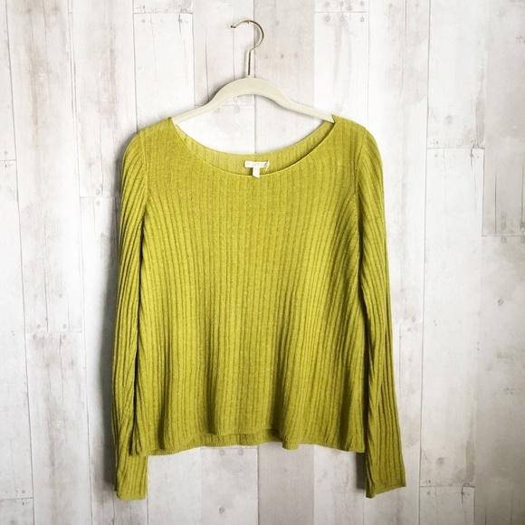 cfdbf485e597b  Eileen Fisher  Chartreuse Linen Pullover Sweater